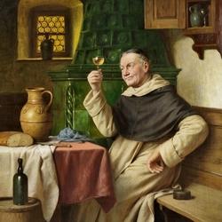 Пазл онлайн: Монах с бокалом вина
