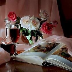 Пазл онлайн: Розы и вино