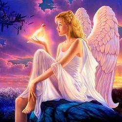 Пазл онлайн: Ангел в сумерках