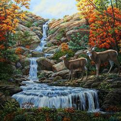 Пазл онлайн: Олени у водопада
