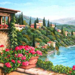 Пазл онлайн: Цветущий городок