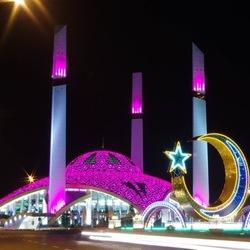 Пазл онлайн: Мечеть в Аргуне ночью