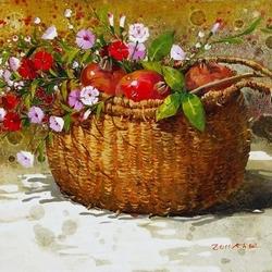 Пазл онлайн: Корзина с полевыми цветами и фруктами