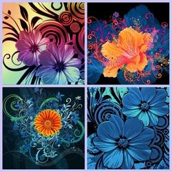 Пазл онлайн: Графические цветы