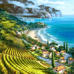 Пазл онлайн: Виноградники