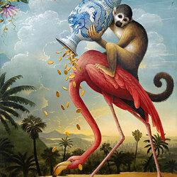 Пазл онлайн: Фламинго и обезьяна