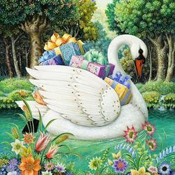Пазл онлайн: Лебедь с подарками
