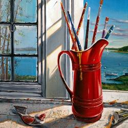 Пазл онлайн: Окно художника