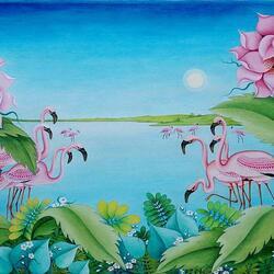 Пазл онлайн: Танец фламинго