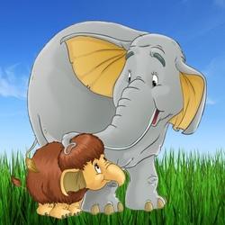 Пазл онлайн: Мама для мамонтёнка