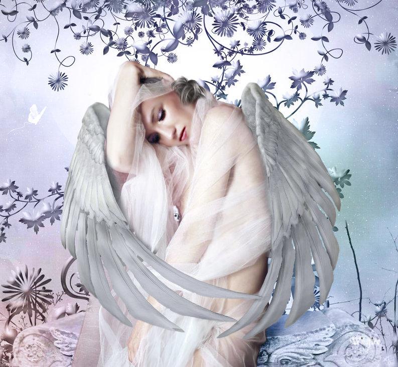 Открытка 1900, девушка ангел открытка