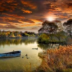 Пазл онлайн: Река на закате