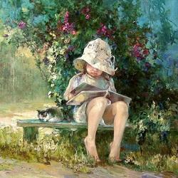Пазл онлайн: Сама читаю