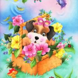 Пазл онлайн: Корзинка с цветами