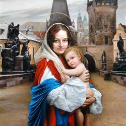 Пазл онлайн: На Карловом мосту среди святых