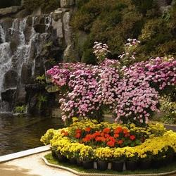 Пазл онлайн: Клумба у водопада