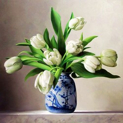 Пазл онлайн: Белые тюльпаны