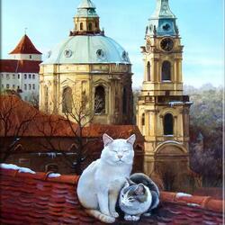 Пазл онлайн: Пражские коты