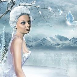 Пазл онлайн: Девушка - зима