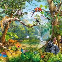 Пазл онлайн: Скрытая жизнь джунглей