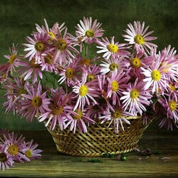 Пазл онлайн: Букет цветов в корзине