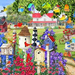 Пазл онлайн: Домики для птиц