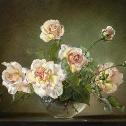 Пазл онлайн: Мадам Баттерфляй (Розы в стеклянной вазе)
