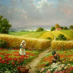 Пазл онлайн: Дети на цветущем лугу