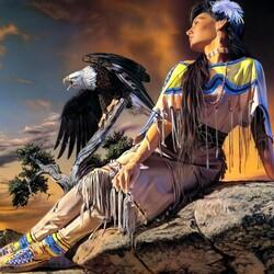 Пазл онлайн: Индианка и орел