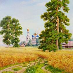 Пазл онлайн: За полем пшеничным родная сторона