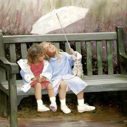 Пазл онлайн: Подружки под зонтом
