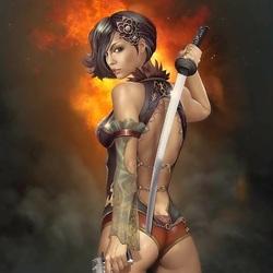 Пазл онлайн: Девушка с оружием