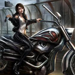 Пазл онлайн: Мотоциклистка