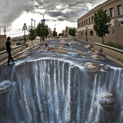 Пазл онлайн: Водопад на улице