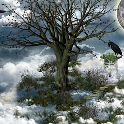 Пазл онлайн: Дерево в облаках