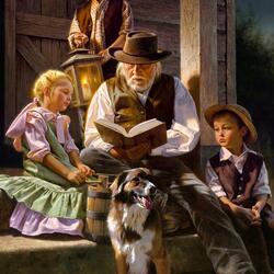 Пазл онлайн: Дедушка читает