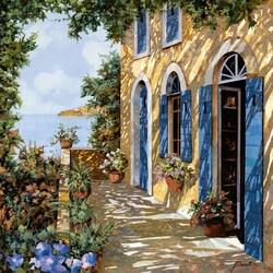 Пазл онлайн: Голубые двери