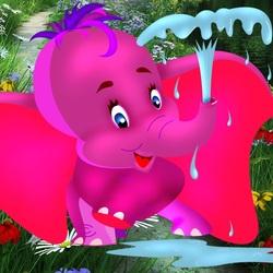 Пазл онлайн: Пурпурный слоненок
