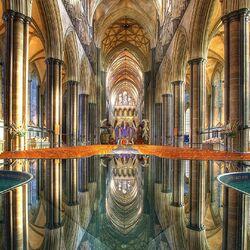 Пазл онлайн: Интерьер Солсберийского готического собора