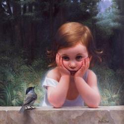 Пазл онлайн: Задумчивая малышка