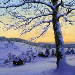 Пазл онлайн: Зимний закат