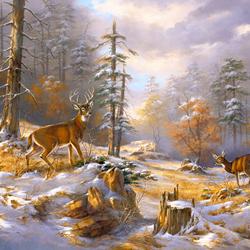 Пазл онлайн: В зимнем лесу