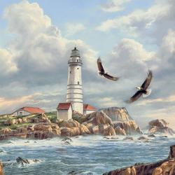 Пазл онлайн: Орлы у маяка
