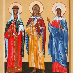 Пазл онлайн: Святая княгиня Ольга, пророк Илия и блаженная Таисия Египетская