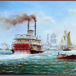 Пазл онлайн: Старая Астрахань. Первый пароход