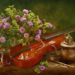 Пазл онлайн: Чай, скрипка и цветы