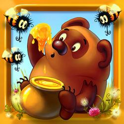 Пазл онлайн: Мишка очень любит мед