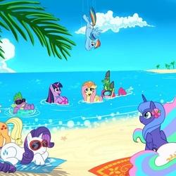 Пазл онлайн: Пони на пляже