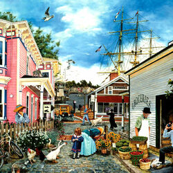 Пазл онлайн: Деревня на берегу моря
