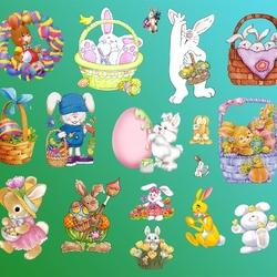 Пазл онлайн: Пасхальные кролики